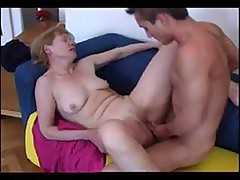 Flabby Blonde Granny Eats His Young Cock And Gets A Creamy Pussy