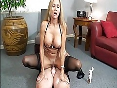Kinky blonde milf in sluty lingerie rides hard cum shooter