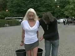 Blonde russian bitch gets humiliated in public places including a museum and gets fucked
