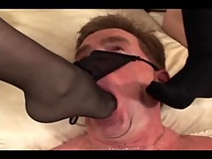 blondes facesitting and kinky footjob in stockings