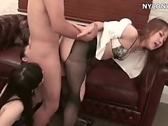 triple pantyhose feet threesome fucking footjob