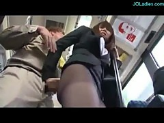Office Lady In Pantyhose Fingered Jerking Off Guy Cock While Standing On The Bus Cum To Ass