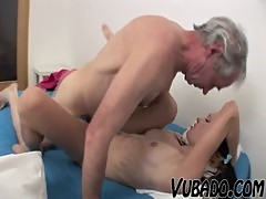OLD FART FUCKING SEXY SLIM TEEN BRUNETTE !!