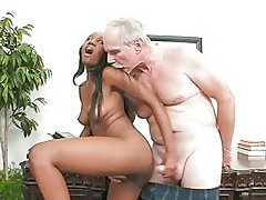 Young Ebony Slut Fucks The Old Dean
