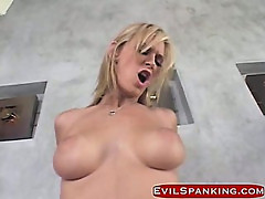 Blonde slut gets fucked and hand spanked