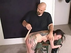 Tattoo asian whore spanked hard!