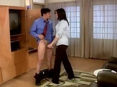 Hot Brunette Monica Geller On Her Knees Sucking Dick