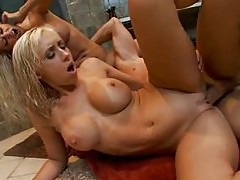 Two hot blondes fucking after shower