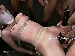 Mobsters brings slut tied in ropes in car trunk and step on her head and fuck her violently