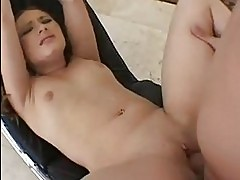 Pale brunette with small boobies gets her shaved nookie stre...