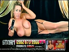 Hot busty blonde telephone sex girl in bl ...