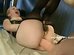 Blonde with big tits gets her perfect ass spanked and fucked hard in threesome extreme anal sex