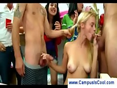 Blonde teen sucks off two guys