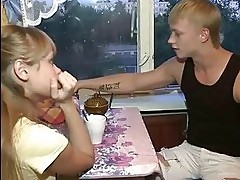 Perverted spectacled guy holds hand