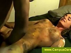 Bodypainted teen students sucking