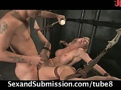 Busty beauty submits for cock sucking and sex in bondage