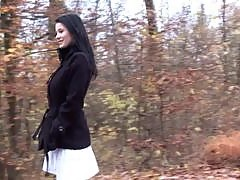 Gorgeous dark haired teen with huge tits pissing outdoor