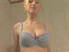 Blonde with big tits fucked in bathroom