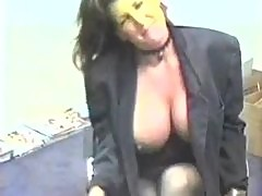 Girl with really big tits fucked in storage room
