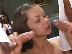 slutty Angelina Crow takes one chub at a time soaking hot in...