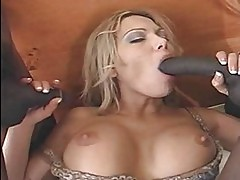 Blonde Anna Nova testing two huge black dicks