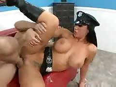 Sexy Busty Brunette Cop Jayden Jaymes Disarms His Loaded Cock