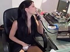 Horny receptionist Rebecca Linares gets analized