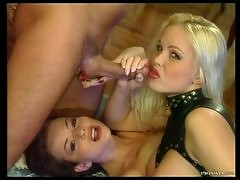 Blonde and Brunette Sluts Kate More and Silvia Saint Sharing a Cock