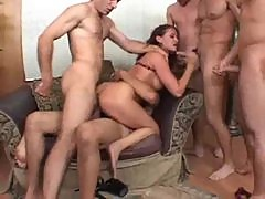 Tory Lane in a wild gangbang with DP