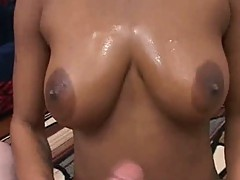 Large Boobs black girlfriend sucking giant cock