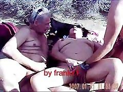 In The Sand Dunes Of Maspalomas A Plump Mature Granny Has A Threesome