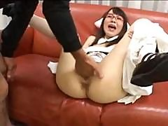 Asian Schoolgirl Is Getting Her Ass And Pussy Fingered And Fisted