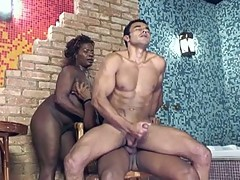 Two bi boys get in the tub with busty ebony