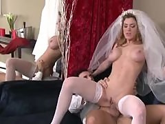Bride in a white corset fucked by big cock