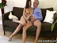 Sweet brit girl gets anal from old man
