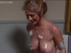 Busty Angela Aames Taking a Soapy Bath With a Sea Lion