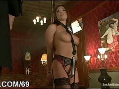 Chick in bondage punished with deepthroating