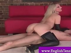 Male bitch dominated by mistress in leather heels and gloves