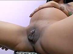 Desperate Ebony Preggo Sucks and Fucks Burkes Big Cock