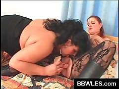 In Their Sexy Black Lingerie A Couple Of Busty Fatty Chicks Do Each Other In The Bedroom