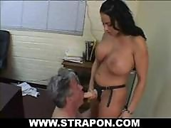 Lonely And Kinky Manager Calls In A Hot Brunette With Huge Boobies To Come And Play With Him