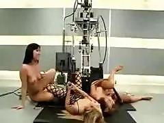 A Trio Of Hot Young Bimbos Do Some Quality Control For Some Sex Machines