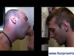 Homosexual gloryhole blowjob