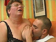 Fat grandma gets banged by young meat