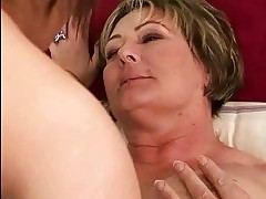 Granny and hot girl licking each other