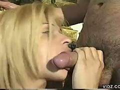Sexy blonde tranny gets fucked