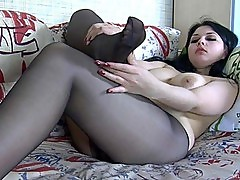 Sexy Brunette in Stockings Stripping For You