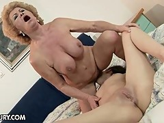 Busty lesbian granny for sweet brunette pussy