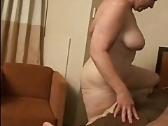 Horny granny rides a cock deep in her juicy pussy