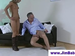 Old man fucking a blonde in boots